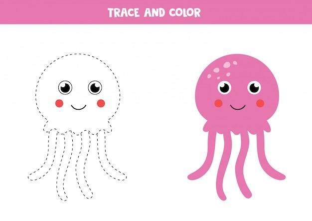 かわいいピンクのクラゲをなぞって着色。