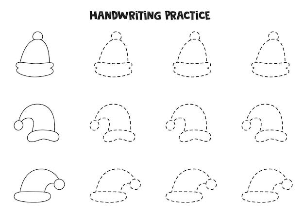 Tracing contours for kids with cute christmas caps. handwriting practice.