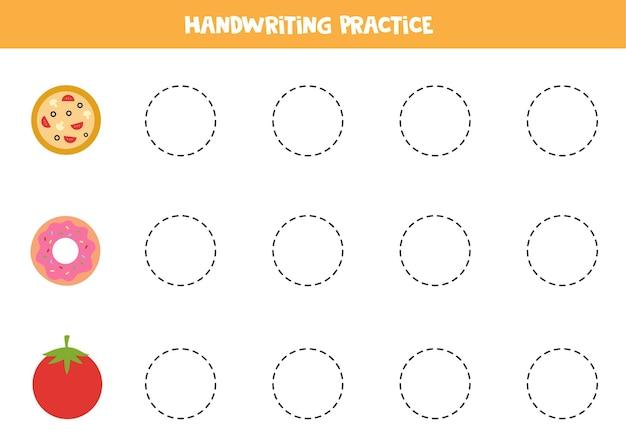 かわいい円形のオブジェクトの輪郭をなぞります。子供向けの手書き練習。