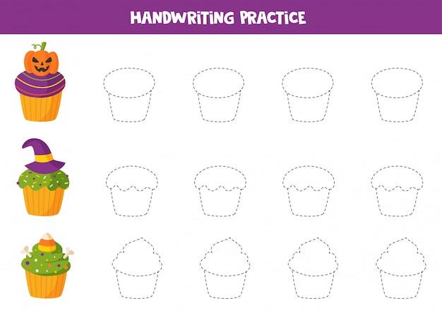 귀여운 할로윈 컵 케이크의 윤곽을 추적합니다. 어린 이용 게임