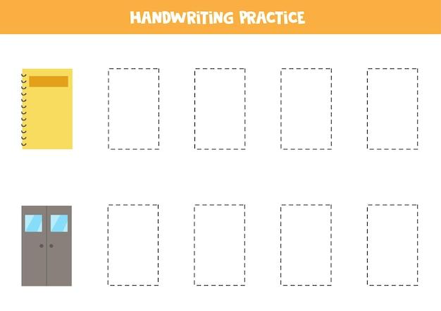 かわいい長方形のオブジェクトの輪郭をトレースします。子供向けの手書き練習。