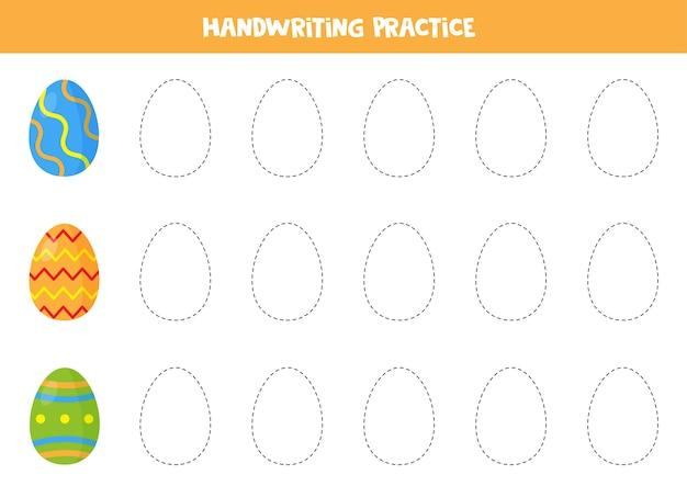 Обводим контуры красочными пасхальными яйцами. практика письма для детей.