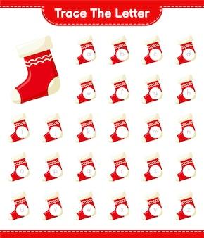 Отслеживание букв алфавита с рождественский чулок