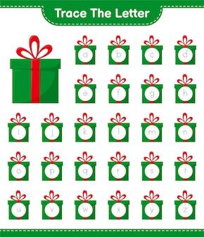Отслеживание букв алфавита с подарочными коробками