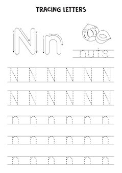 Tracing letters of english alphabet black and white worksheet