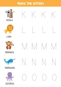 Tracing letters of english alphabet