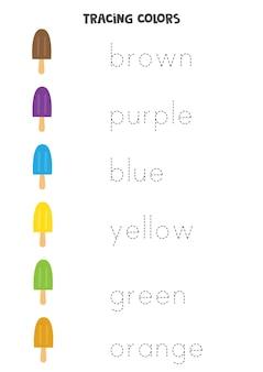 추적 편지. 기본 색상의 이름을 추적합니다. 쓰기 연습.