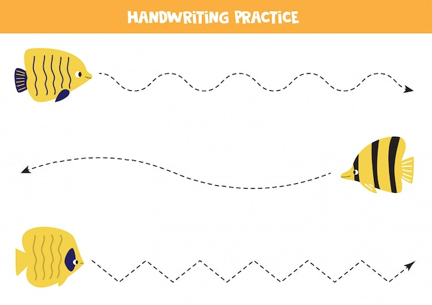 Tracing line with different yellow sea fish. worksheet for kids.