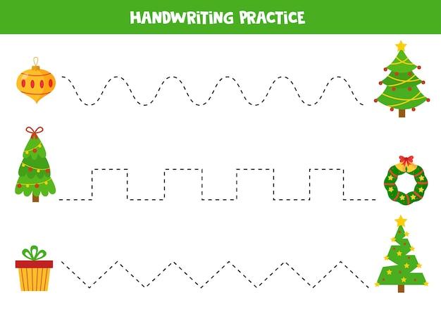 クリスマスツリーと現在のボックスリースとボールの間の線をたどる手書きの練習