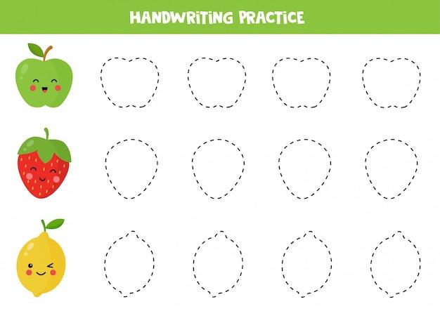 Трассировочные линии для детей. практика написания навыков с фруктами.