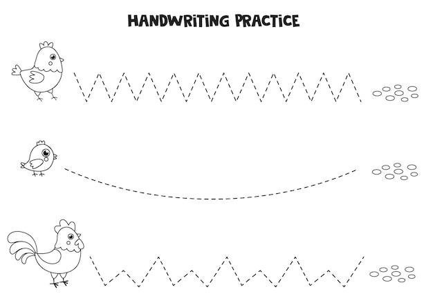 黒と白の農場の鳥を持つ子供のためのトレースライン。子供のための手書きの練習。