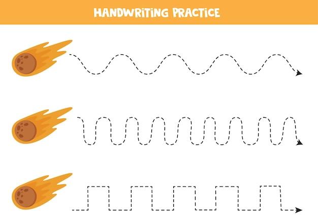 Трассировка линий для детей с мультяшной космической кометой. практика письма для детей.