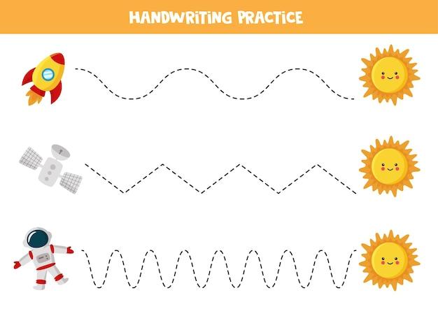 漫画の太陽、ロケット、宇宙飛行士、衛星を持つ子供のためのトレースライン。子供のための手書きの練習。
