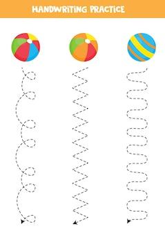 カラフルなボールを持つ子供のためのトレースライン。子供のための手書きの練習。