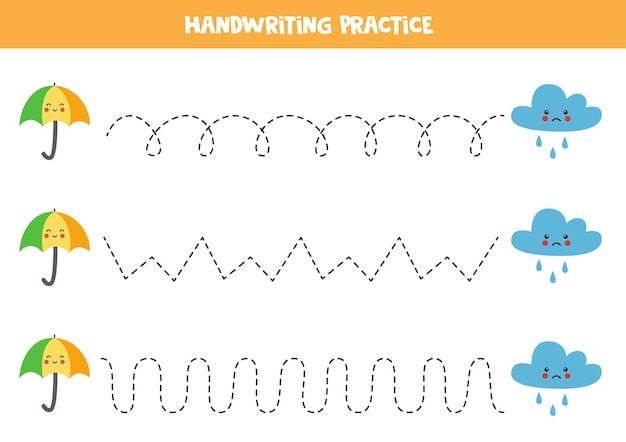 かわいい傘と雨雲の子供のためのトレースライン。子供のための手書きの練習。