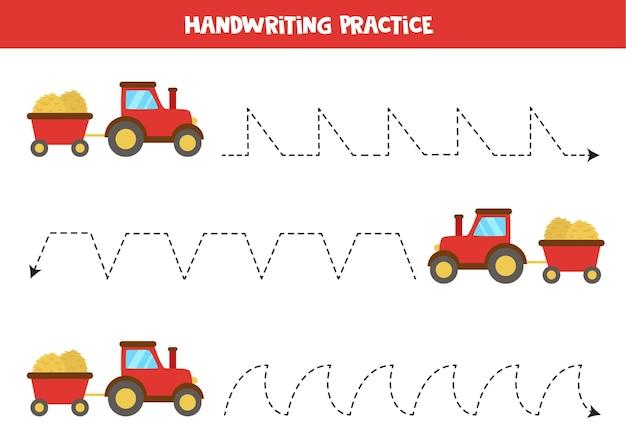 農業用トラクターを持った子供のためのトレースライン。子供のための手書きの練習。