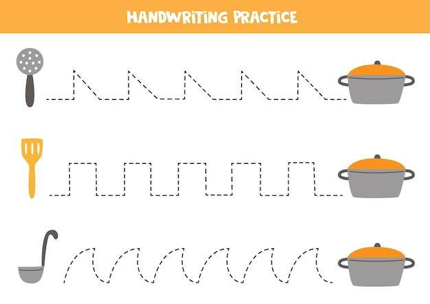 キッチンカトラリーと鍋を備えた子供向けのトレースライン。子供のための手書きの練習。