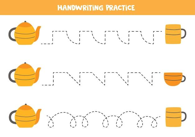 ティーポットとマグカップを持った子供向けのトレースライン。子供のための手書きの練習。