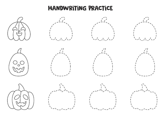 Tracing lines for kids with black and white halloween pumpkins. handwriting practice for children.
