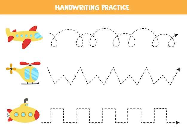 Tracing lines for kids with cartoon plane, helicopter, submarine. handwriting practice for children.