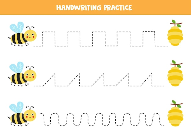 Tracing lines for kids with cute bee and hives. handwriting practice for children.