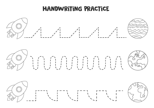 Tracing lines for kids with cute black and white rocket and planets. handwriting practice for children.