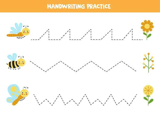 Tracing lines for kids with cute butterfly, bee and dragonfly. handwriting practice for children.