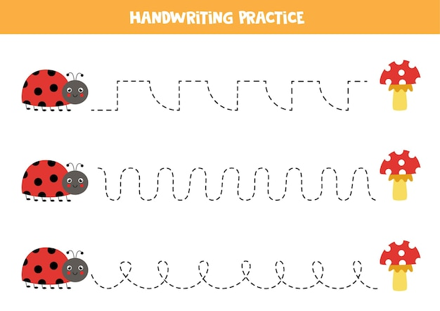 Tracing lines for kids with cute ladybug and mushrooms. handwriting practice for children.