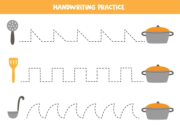 Tracing lines for kids with kitchen cutlery and saucepan. handwriting practice for children.
