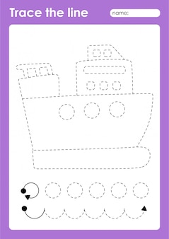 Tracing lines preschool worksheet for kids for practicing fine motor skills