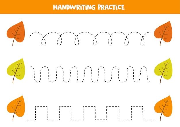 단풍으로 선을 추적합니다. 쓰기 연습.