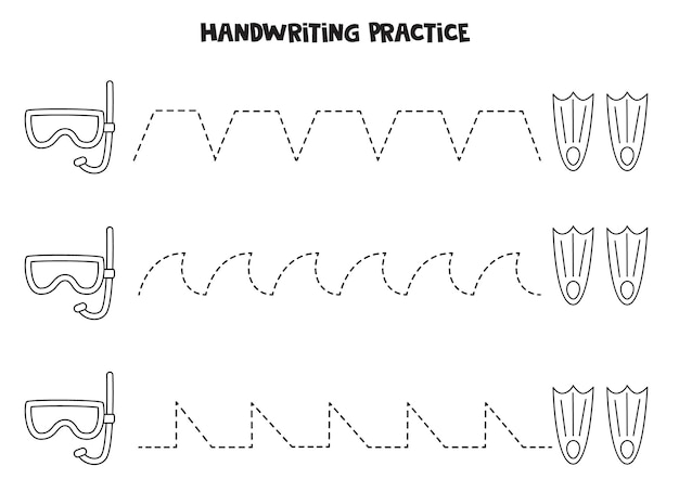 Tracing lines with black and white diving mask and flippers. writing practice.