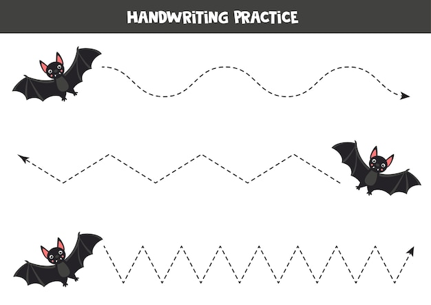 Tracing lines with cartoon black vampire bat. handwriting practice for kids.