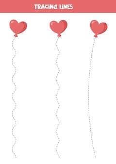 バレンタインの漫画のハートの風船で線をトレースします。子供のための手書きの練習。