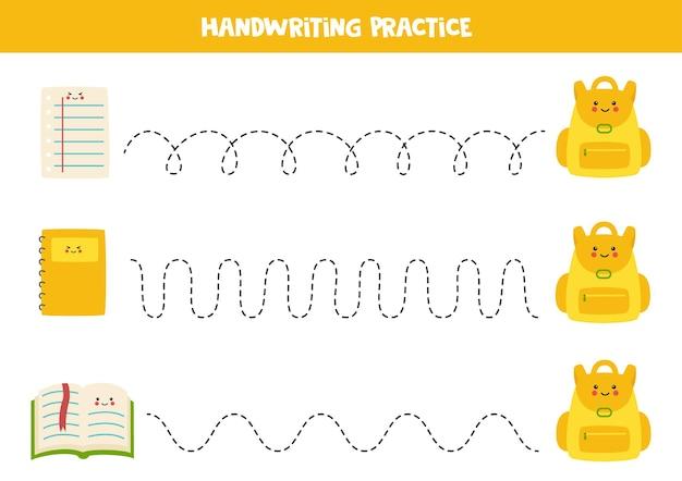Обводка линий с помощью мультипликационного листа, блокнота, книги и рюкзака. письменная практика.