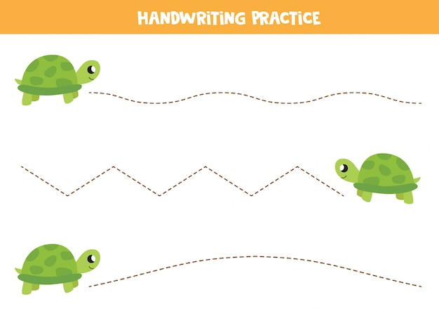 Tracing lines with cartoon turtle. handwriting practice for kids.