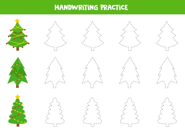 Tracing lines with christmas fir trees