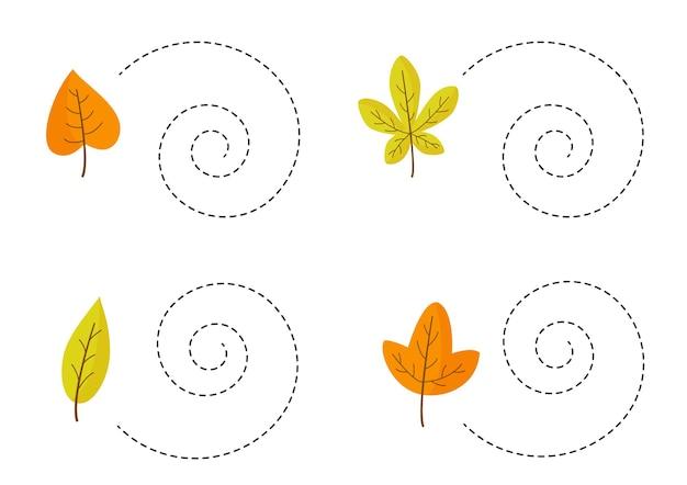 Трассировка линий с милыми осенними листьями. практика почерка.
