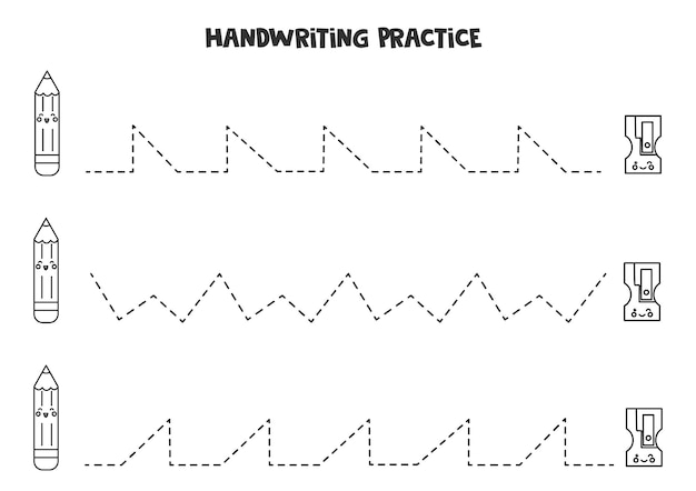 Tracing lines with cute black and white pencil and sharpener. writing practice.