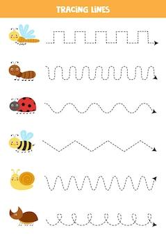 귀여운 곤충으로 선을 그립니다. 쓰기 연습.