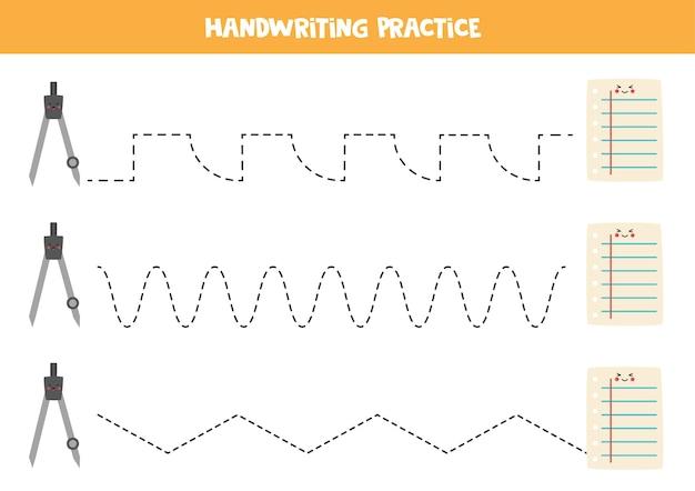 Трассировка линий с милым компасом кавайи и бумагой. письменная практика.