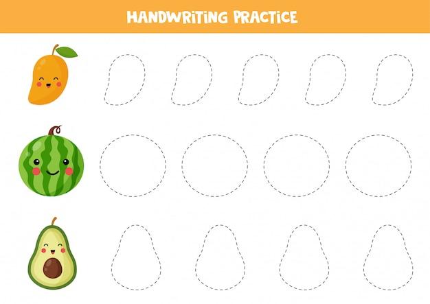 귀여운 카와이 망고, 수박, 아보카도로 라인을 추적합니다. 아이들을위한 필기 연습. 윤곽을 추적하십시오. 작문 실습.