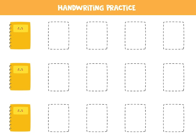 귀여운 수첩으로 선을 그어보세요. 쓰기 연습.