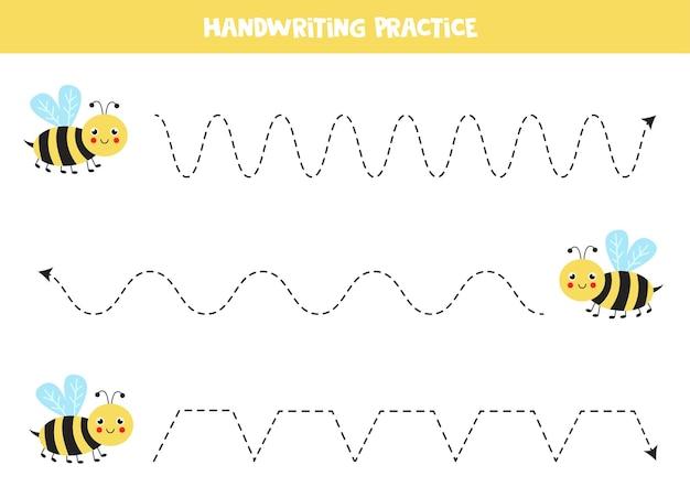 かわいい黄色い蜂とのトレースライン。ライティングの練習。 Premiumベクター