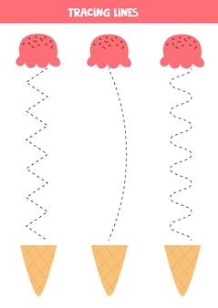 アイスクリームコーンで線をなぞる子供のための手書きの練習