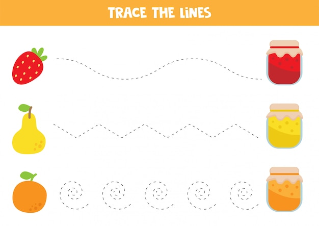 Tracing lines with jam and fruits.