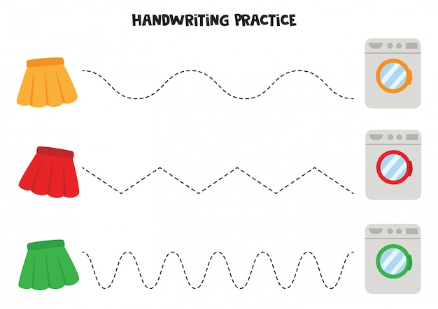 Tracing lines with skirts and washing machines. handwriting practice for kids.