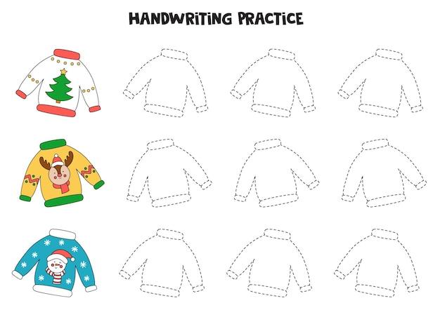 못생긴 크리스마스 스웨터로 선을 추적합니다. 쓰기 연습.