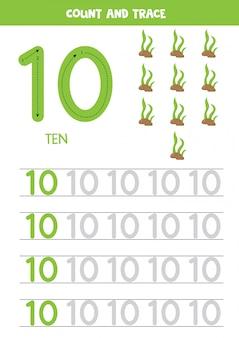 Tracing the number 10. cartoon sea weeds. educational worksheet