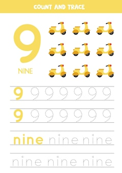 Tracing number 9 and the word nine. handwriting practice for kids with motor scooters.